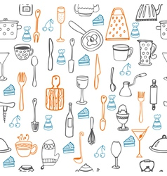 Cute seamless pattern with kitchen equipments vector