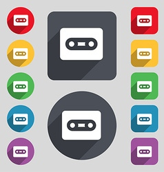 Cassette icon sign a set of 12 colored buttons and vector