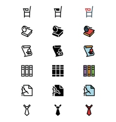 Education outline filled and colored icons 8 vector