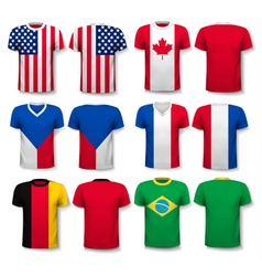 Set of different t-shirts with prints of world vector