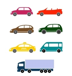 Set of colorful car icon vector
