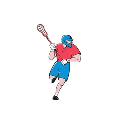 Lacrosse player crosse stick running isolated vector
