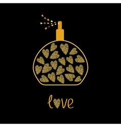 Perfume bottle with hearts inside gold sparkles vector