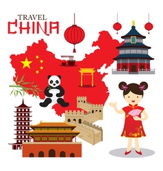 Chinese girl travel china vector