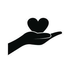 A hand giving a heart icon vector