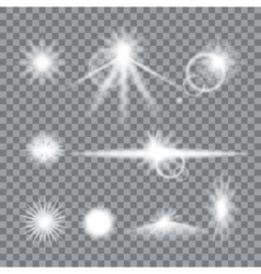 Lens flare set with transparent easy replace vector
