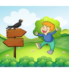 A black bird above the wooden sign near a young vector image vector image