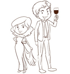A plain sketch of a boy and a girl in their formal vector