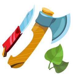 Ax and knife inventory hunter woodsman gamekeeper vector