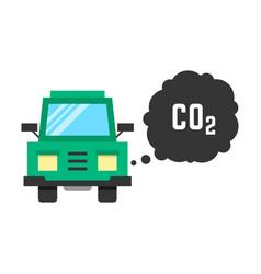 Big green truck emits carbon dioxide vector