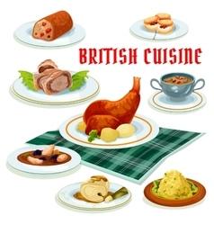 British cuisine cartoon icon for restaurant design vector