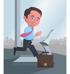 Businessman running on a treadmill vector