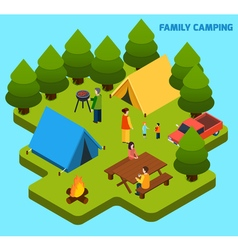 Camping and travel isometric composition vector