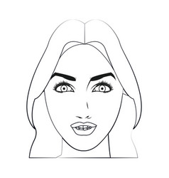 Character face woman beauty attractive line vector