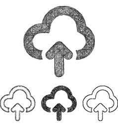 Cloud upload icon set - sketch line art vector image