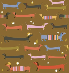 Cute dachshunds seamless print vector