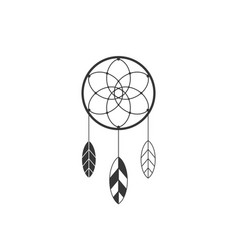 dream catcher icon of native american with feather vector image