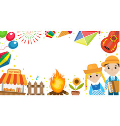 Festa junina banner with space for text brazilian vector