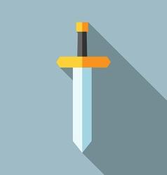 Flat sword long shadow vector image
