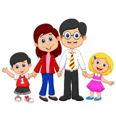 Happy family cartoon vector image