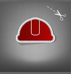 Hardhat sign red icon with for applique vector