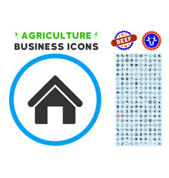 House rounded icon with set vector