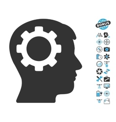 Intellect gear icon with copter tools bonus vector