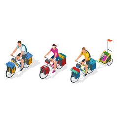 isometric bikers on bicycle with travelling bag vector image vector image