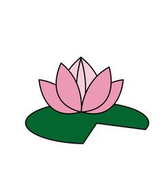 lotus flower pink green leave decorative element vector image