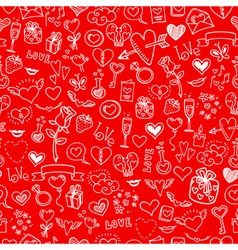 love and hearts doodles seamless background vector image vector image
