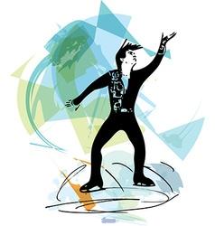 Man ice skater skating at colorful sports arena vector