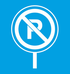 No parking sign icon white vector