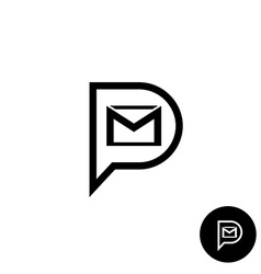 Pm letters logo private message abbreviation with vector