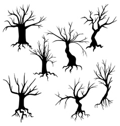 Set of of spooky trees silhouettes vector