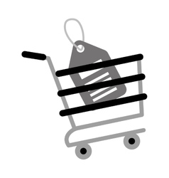 Shopping cart online price tag gray color vector