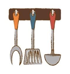 Silver rack utensils kitchen icon vector