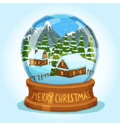 Snow Globe Merry Christmas Card vector image