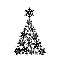 snowflakes in the shape of a christmas tree vector image vector image