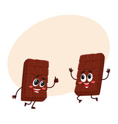 Two funny chocolate bar characters jumping from vector