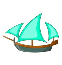 Three sailing wooden ship icon cartoon style vector