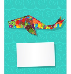 Whale card vector image
