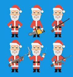 Angry santa claus holding weapons vector