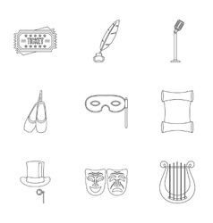 Concert icons set outline style vector