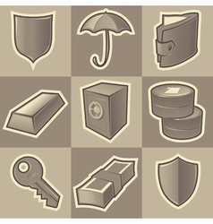 Monochrome security icons vector