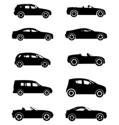 ten cars silhouettes vector image