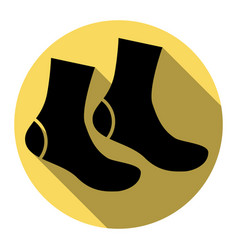 Socks sign  flat black icon with flat vector