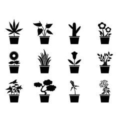 pot plants icons set vector image