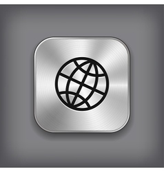 Global icon - metal app button vector