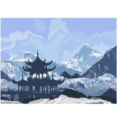 Chinese pagoda in the snowy mountains vector