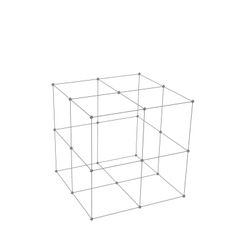 Cube made is mesh polygonal element vector